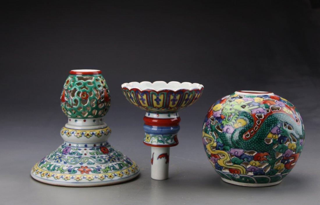 "Chinese Dou Glazed Dragon Hat Holder with Mark ""Da Qing - 7"