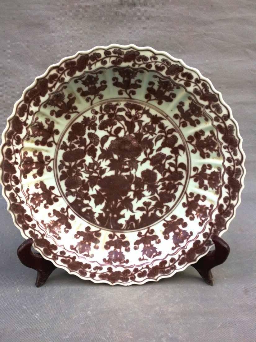 Chinese  Ming Styled Iron Red Glazed Charger W:44cm