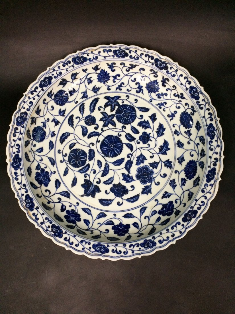 Chinese Blue and White Charger Painted with Flowers