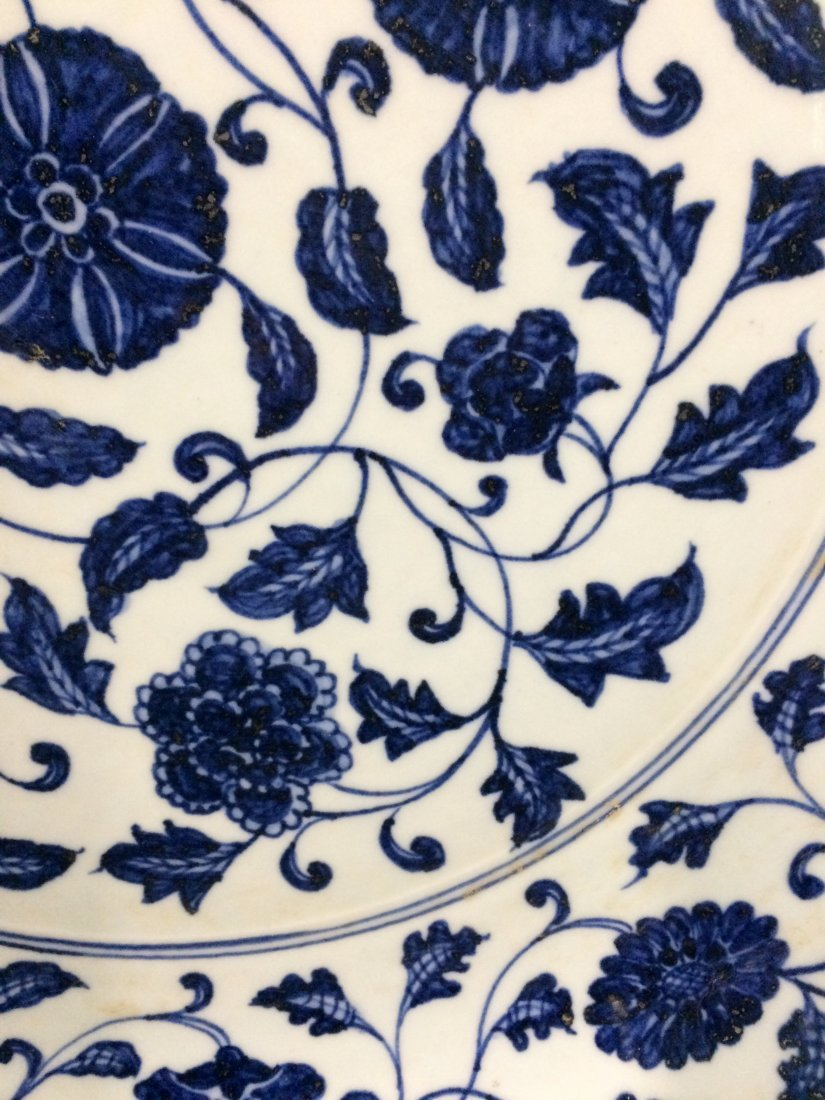 Chinese Blue and White Charger Painted with Flowers - 3