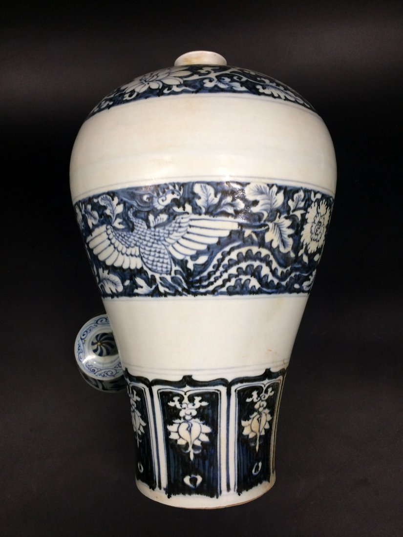 Chinese Yuan Style Blue and White Meiping Vase Paitned - 3