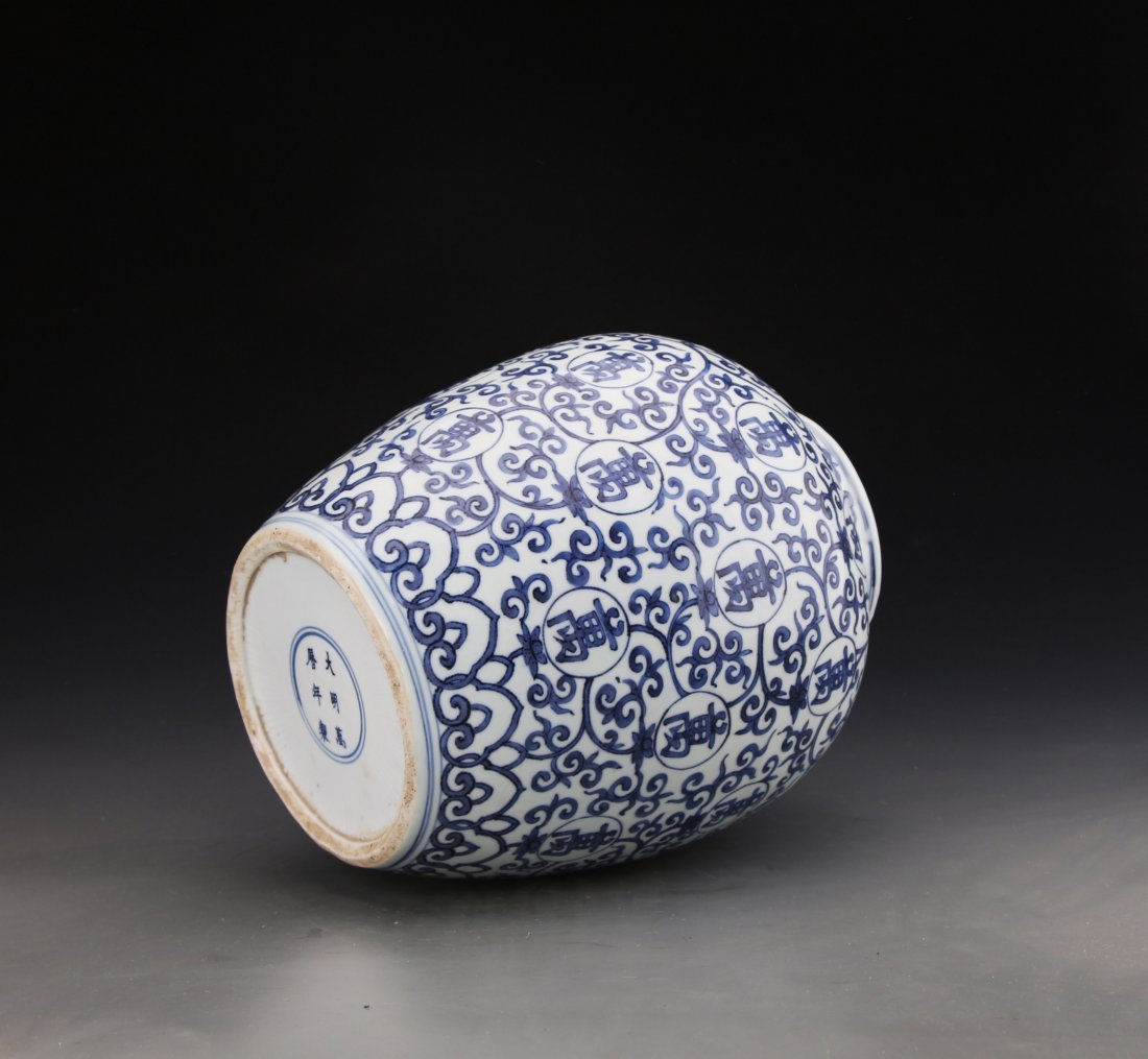 Chinese Blue and White jar Painted with Twine patterns - 4
