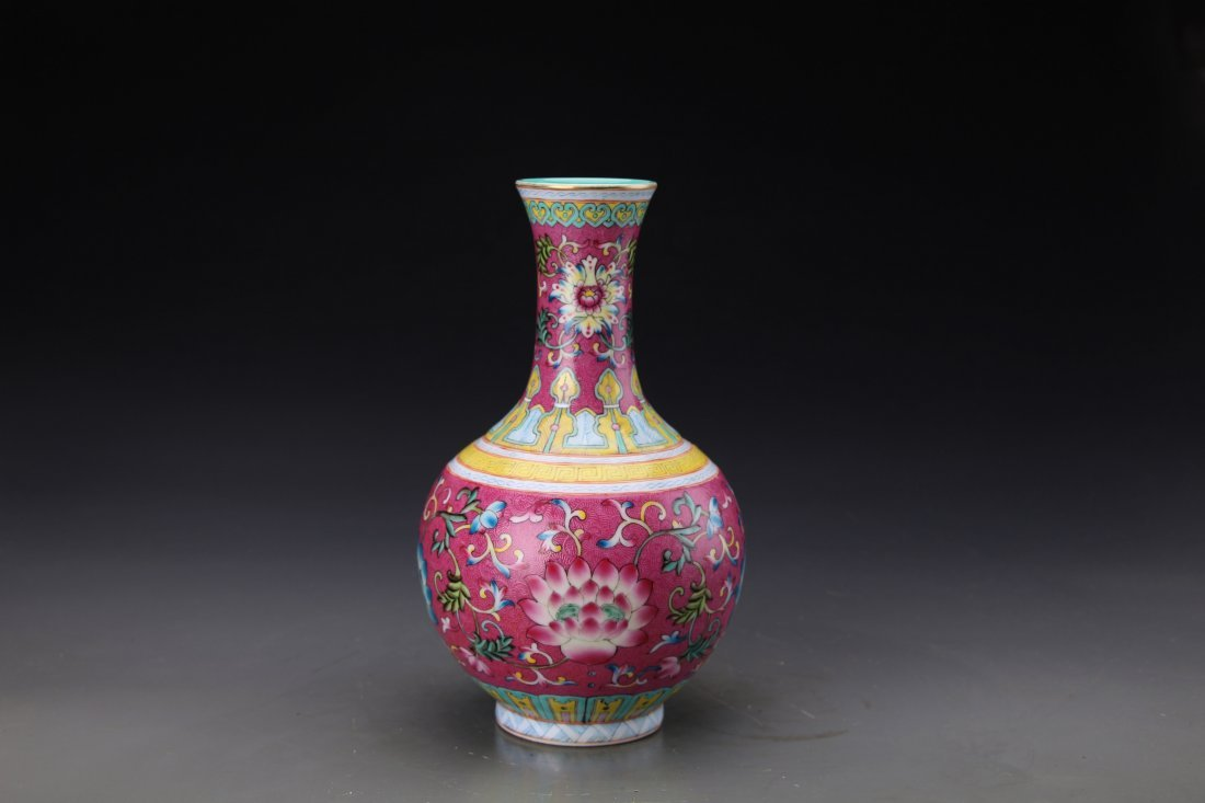"Chinese Famille Rose Twine Lotus Vase with Mark ""Da"