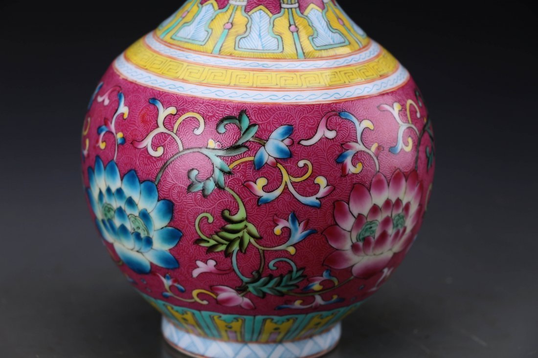 "Chinese Famille Rose Twine Lotus Vase with Mark ""Da - 2"