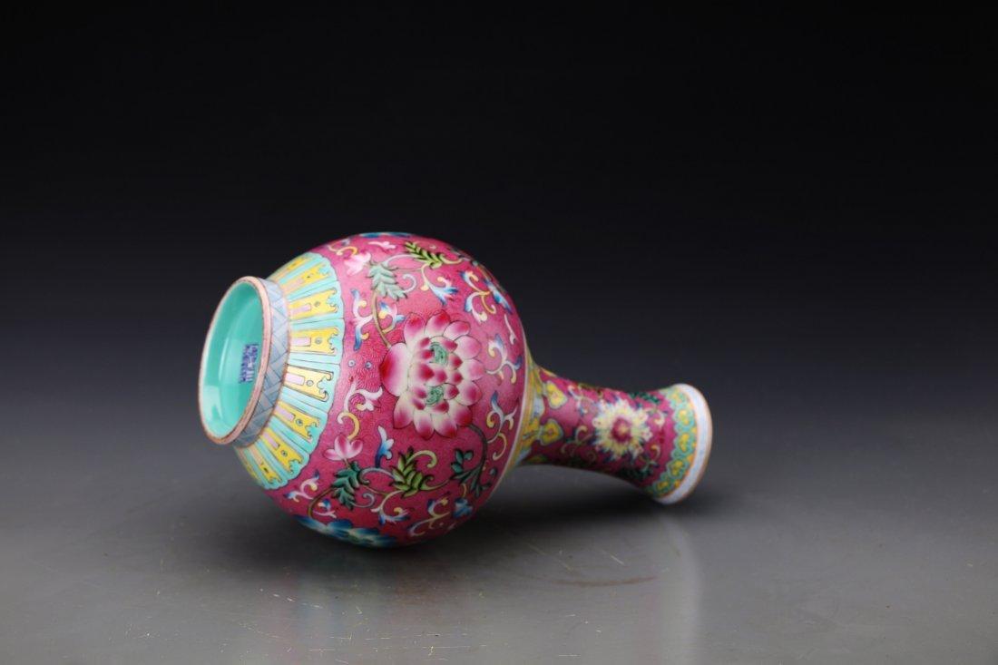 "Chinese Famille Rose Twine Lotus Vase with Mark ""Da - 4"