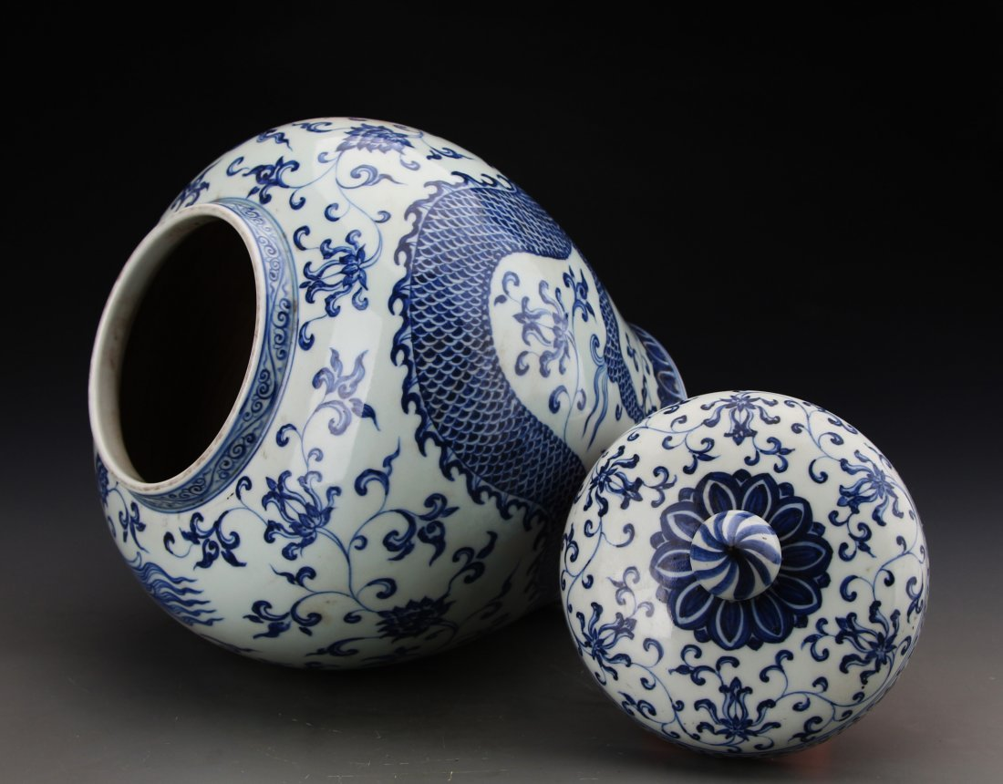 Chinese Blue and White Jar Painted with Dragon Marked - 3