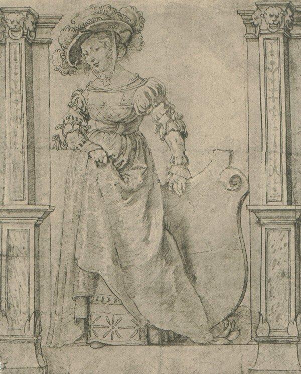 "1: ""Lady Supporting a Shield"" 1902 Vasari Society Litho"
