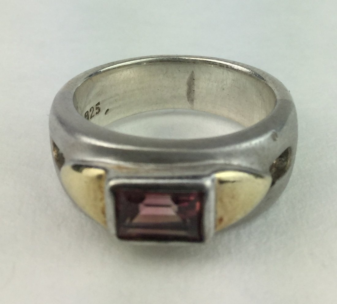 Gorgeous Sterling & 10KT Gold Ring with Amethyst