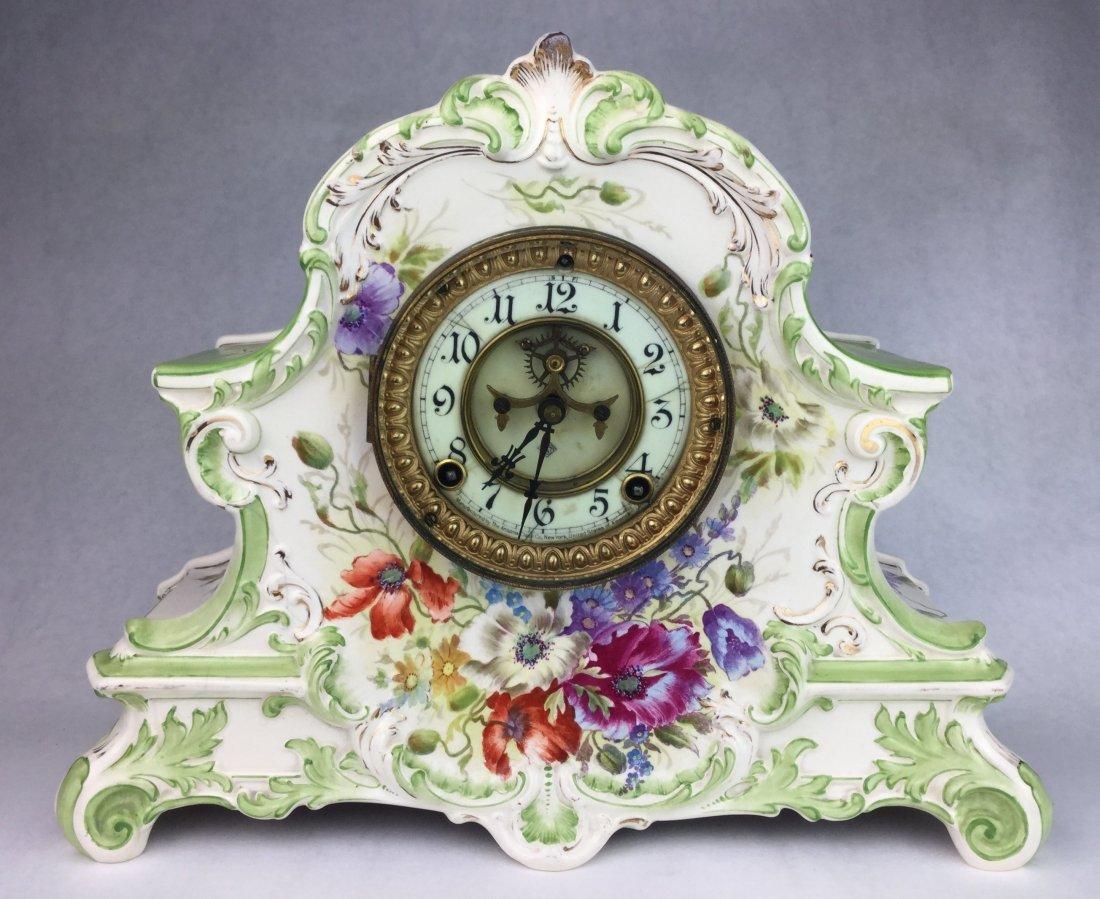 Ansonia Royal Bonn La Nord Porcelain Clock