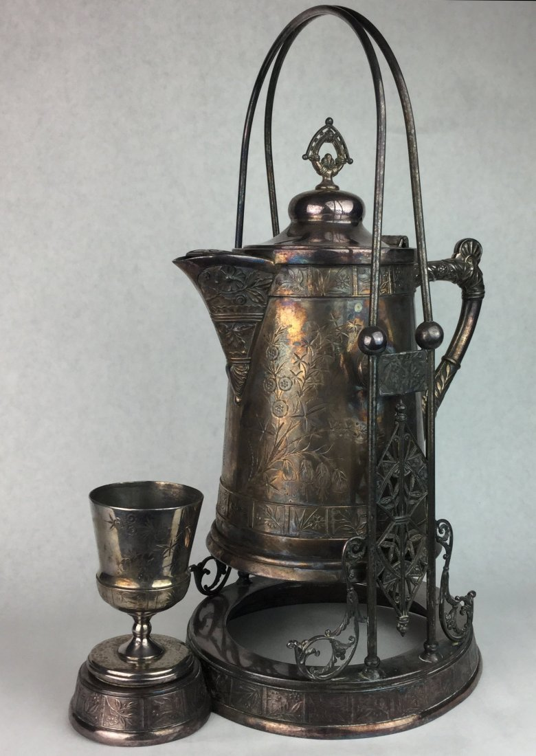 Large Antique Silver Pitcher & Cup on Stand