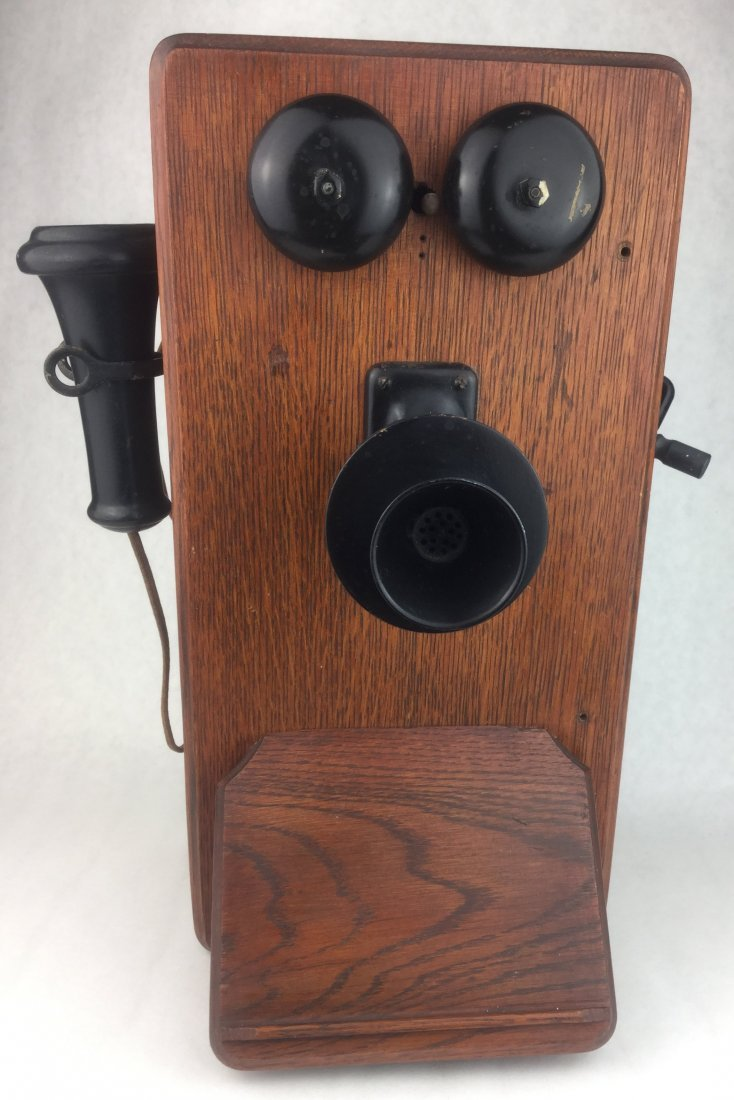 Antique Oak Wall Phone by Western Electric