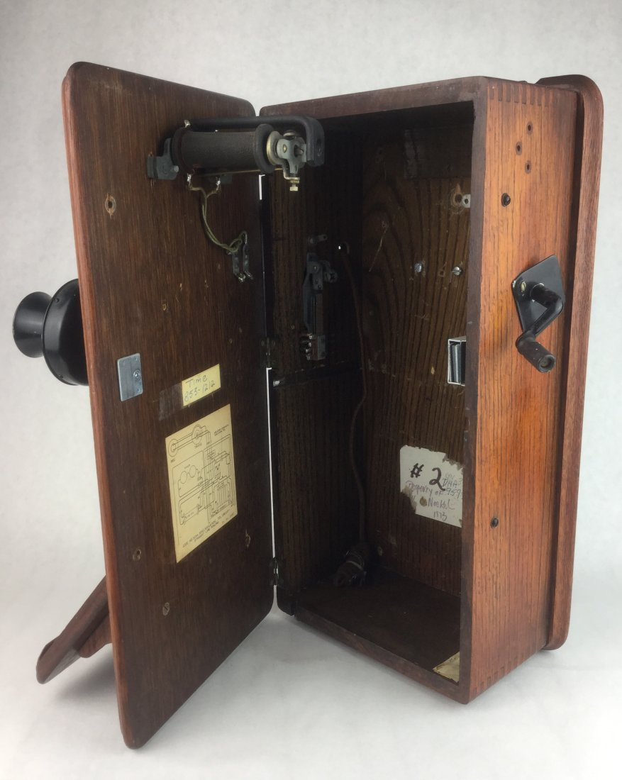 Antique Oak Wall Phone by Western Electric - 2
