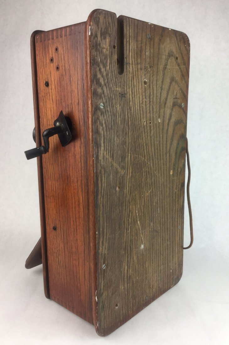 Antique Oak Wall Phone by Western Electric - 3