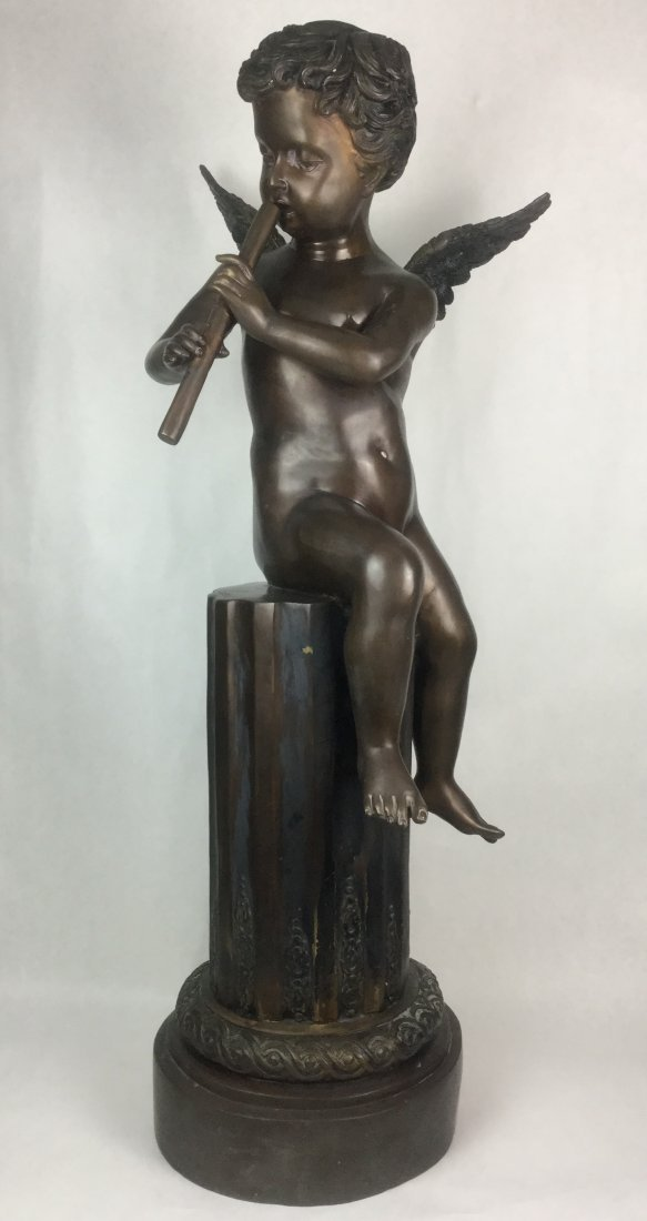 Joseph D'Aste Signed Bronze Putto playing Flute