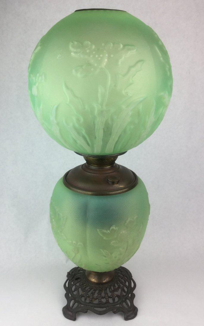 Antique Vaseline Glass Oil Lamp with Ornate Base