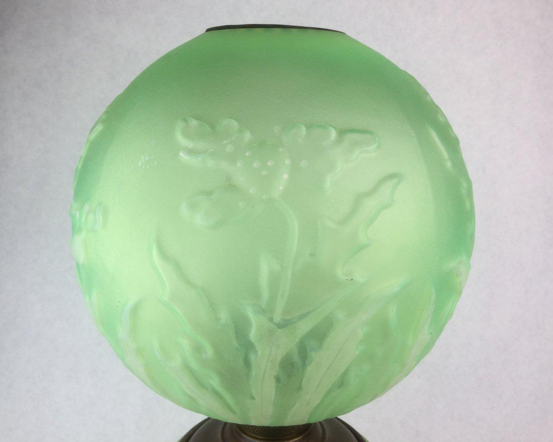 Antique Vaseline Glass Oil Lamp with Ornate Base - 3