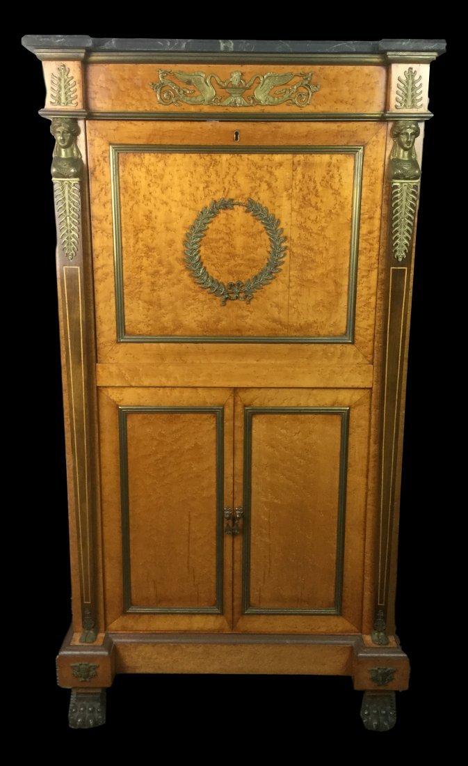 Antique Abatant with Brass Decor & Marble Top