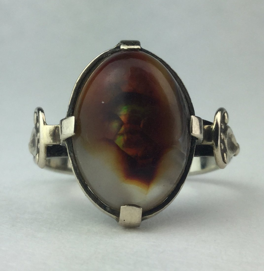 14 KT Art Deco Natural Fire Agate Ornate Ring 5.3 grams