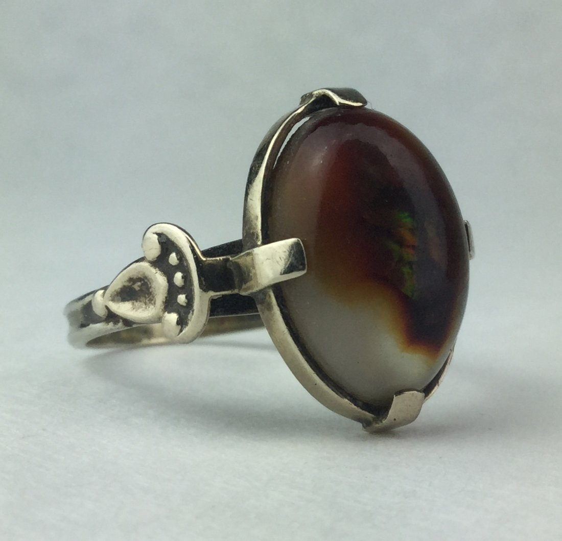 14 KT Art Deco Natural Fire Agate Ornate Ring 5.3 grams - 2