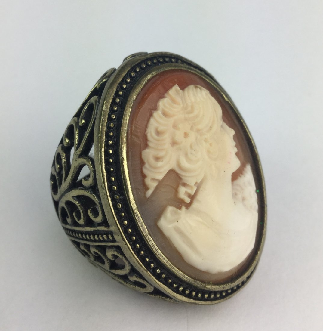 Cornelian Shell Cameo Ring by AMEDEO