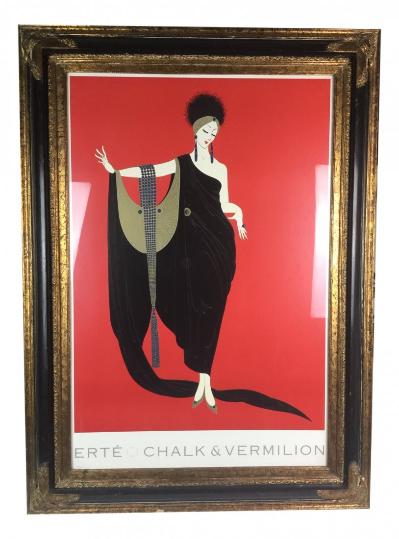 Large Erte Poster with Ornate Frame