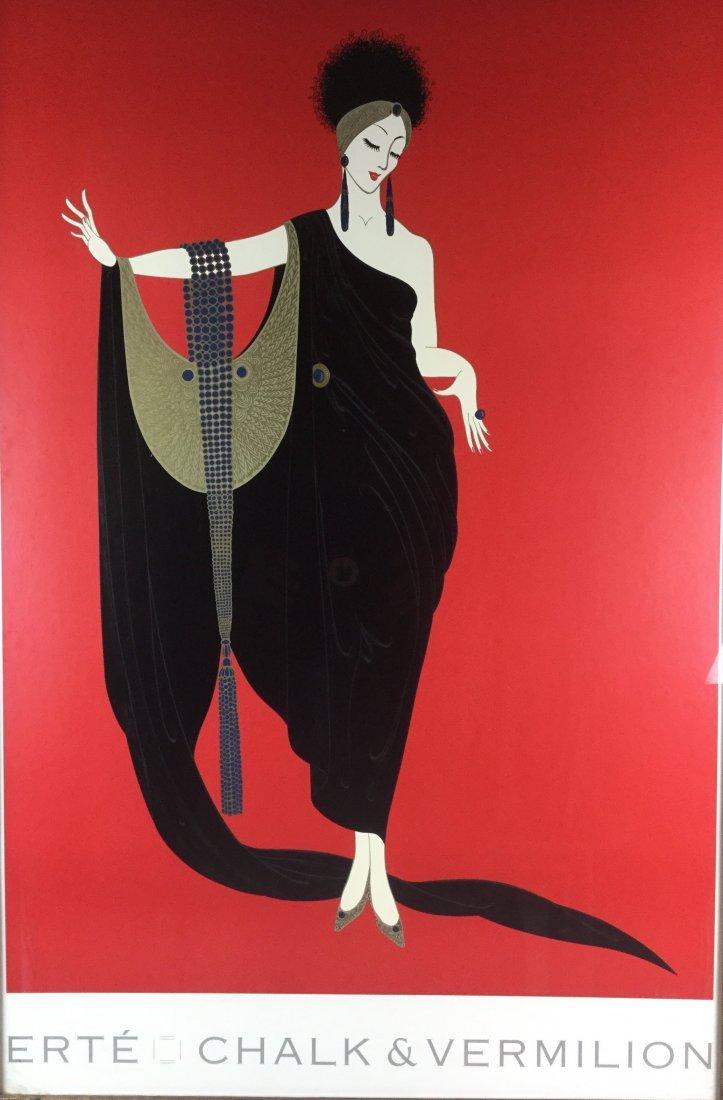 Large Erte Poster with Ornate Frame - 2