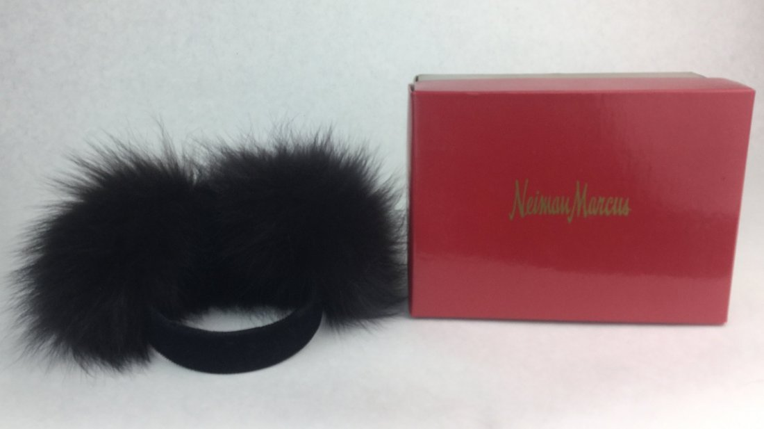 Vintage Black Fox Fur Ear Muffs from Nieman Marcus - 2
