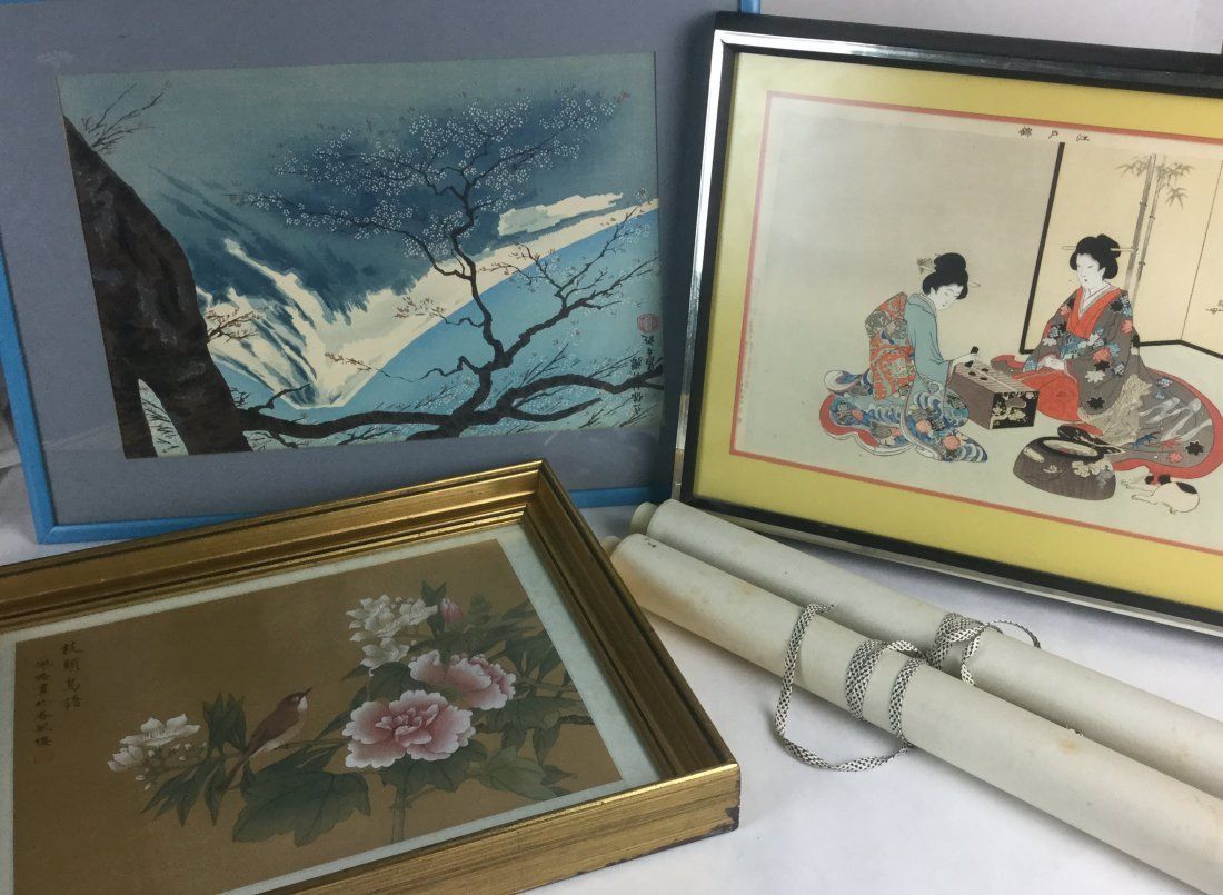 Japanese Wood Block Prints & 2 Scrolls