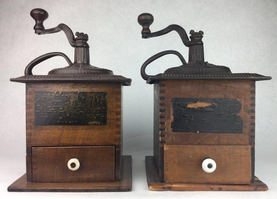 Pair of Antique Oak Coffee Grinders