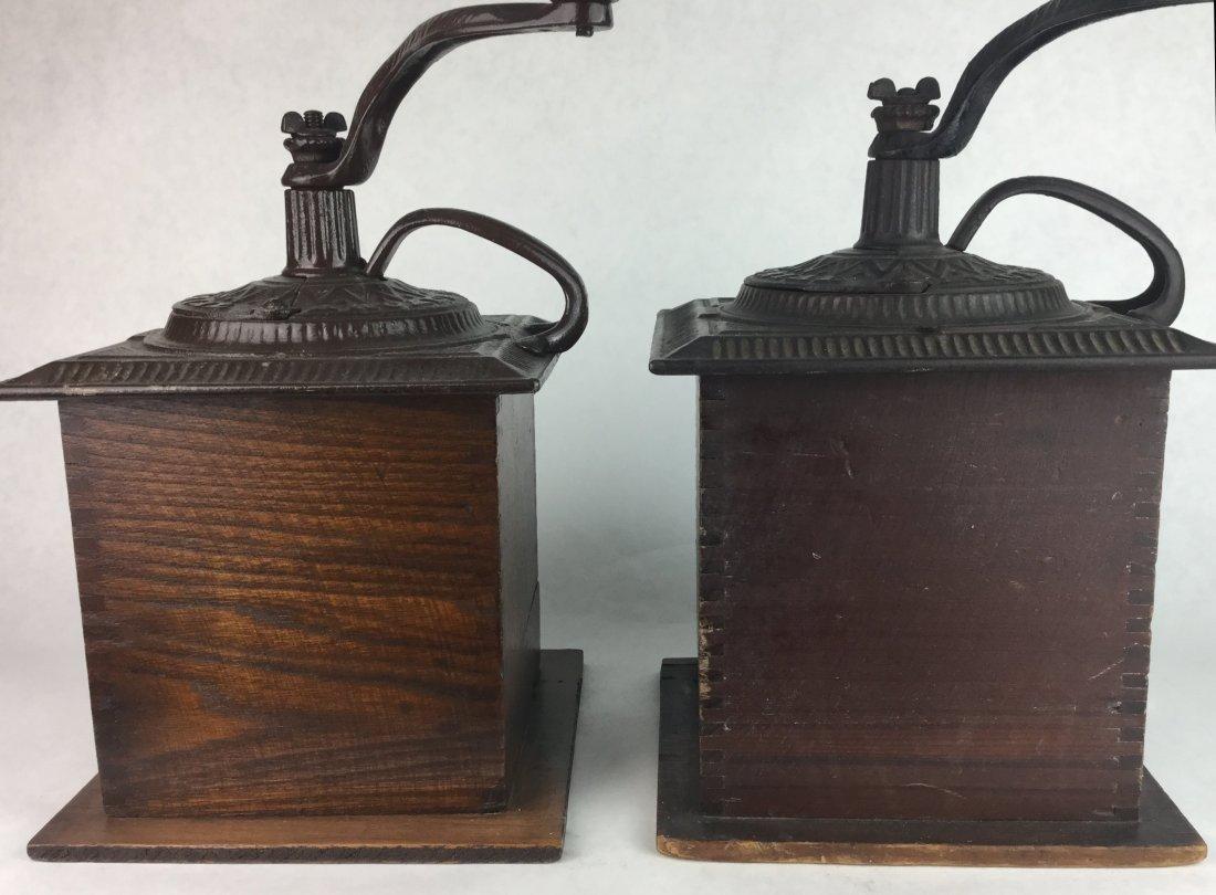 Pair of Antique Oak Coffee Grinders - 2