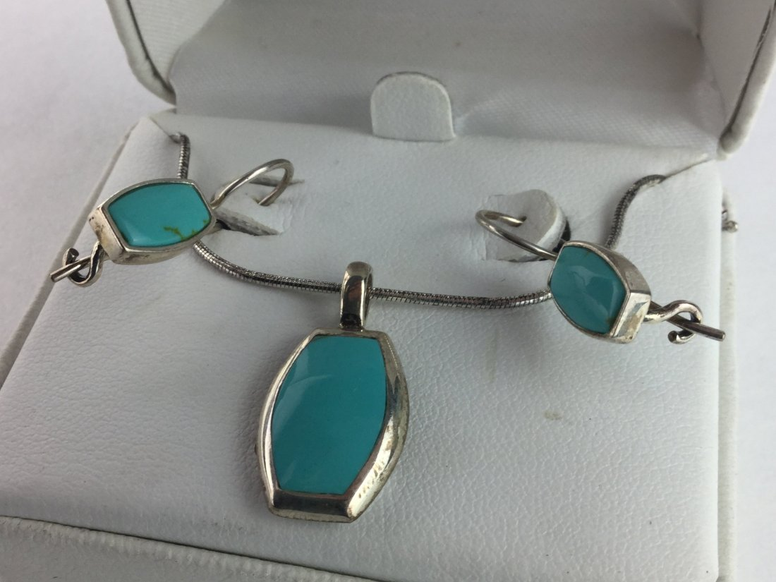 925 Sterling & Turquoise Necklace & Earrings - 2