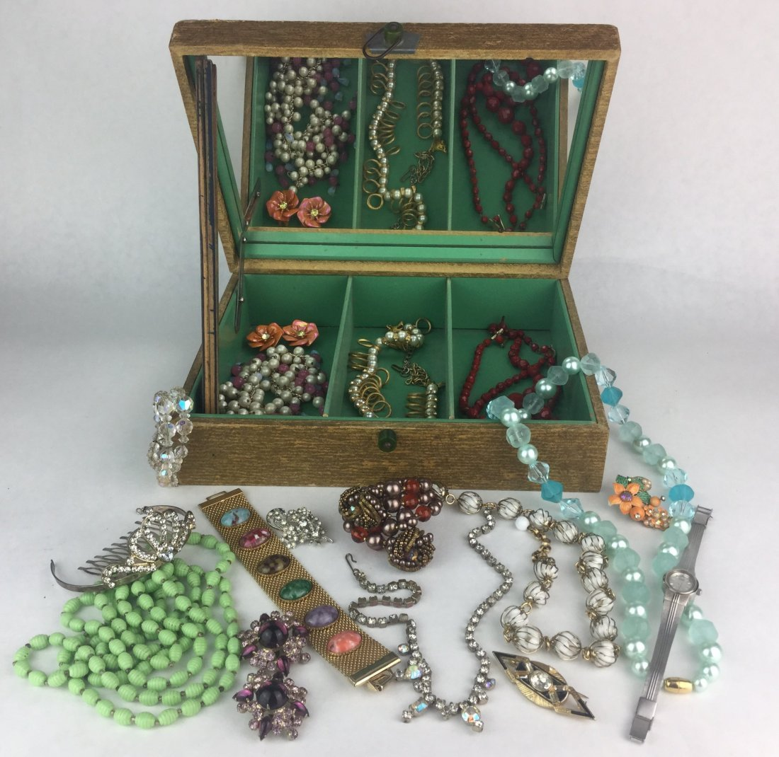 Estate Jewelry Collection with Bakelite Handle Box