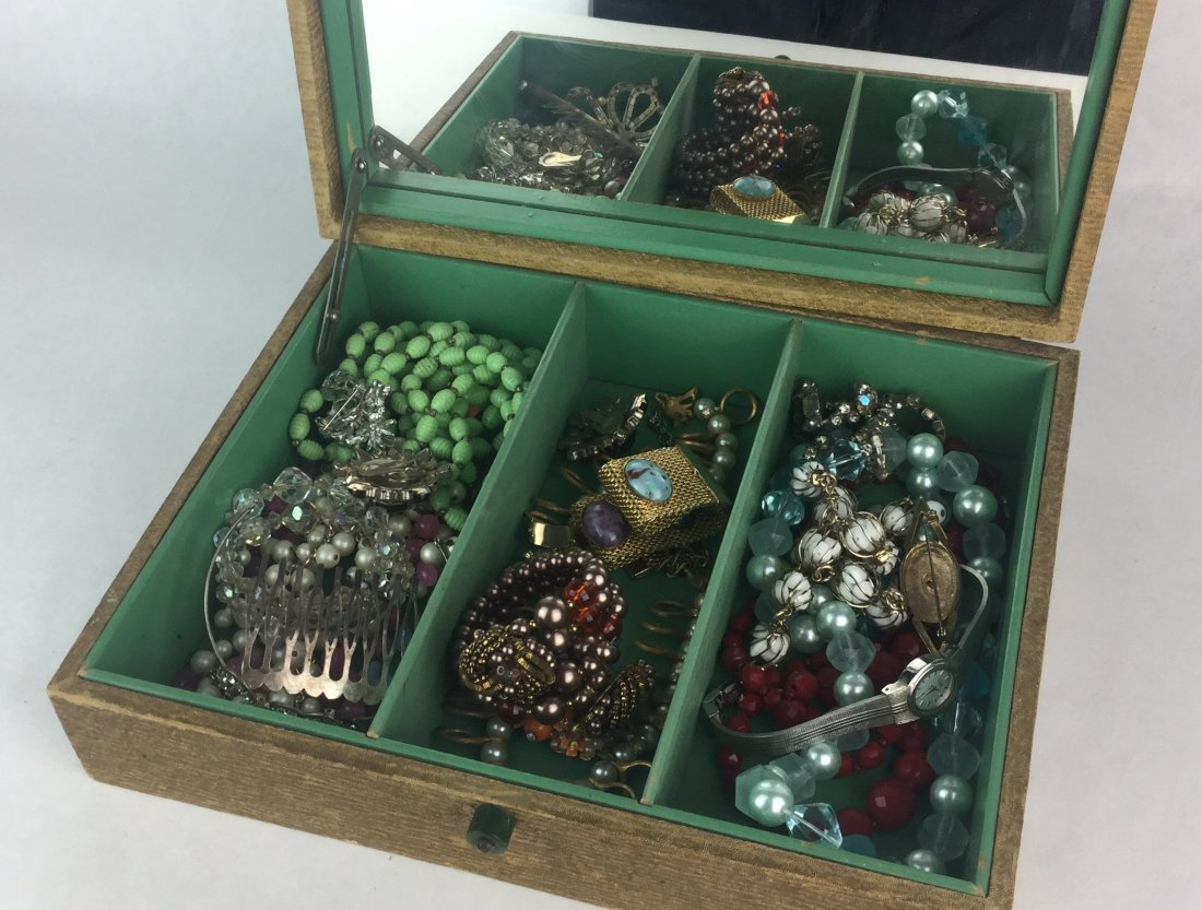 Estate Jewelry Collection with Bakelite Handle Box - 2
