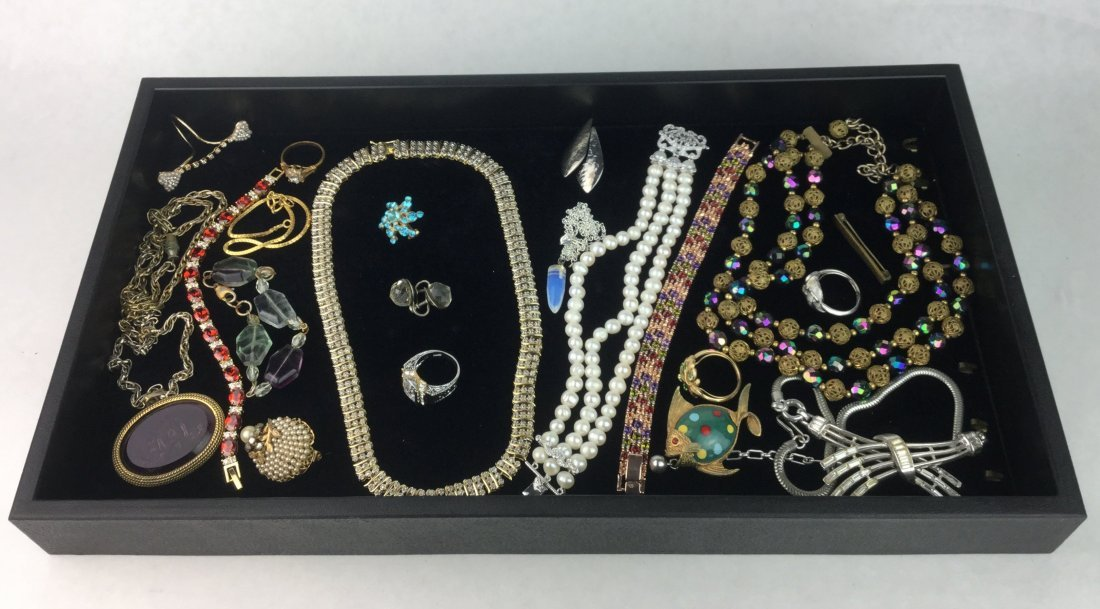 Estate Jewelry with Rhinestones & Signed Pieces