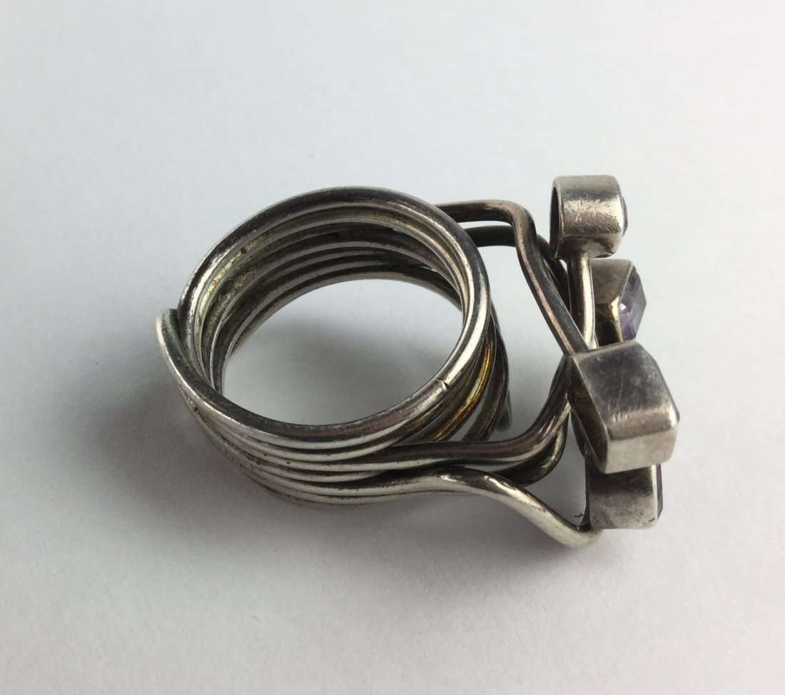 Abstract Modernist  Multi Stone Sterling Silver Ring - 2