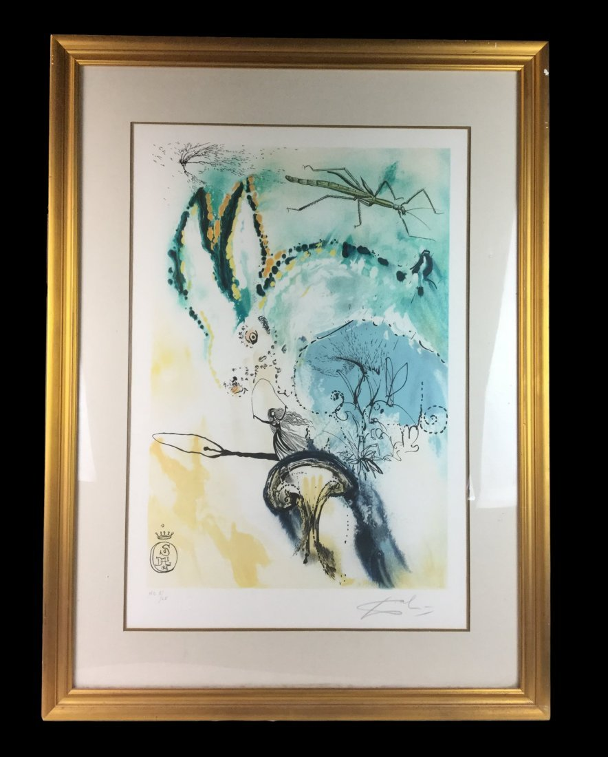 Salvador Dali Signed Lithograph Down the Rabbit Hole