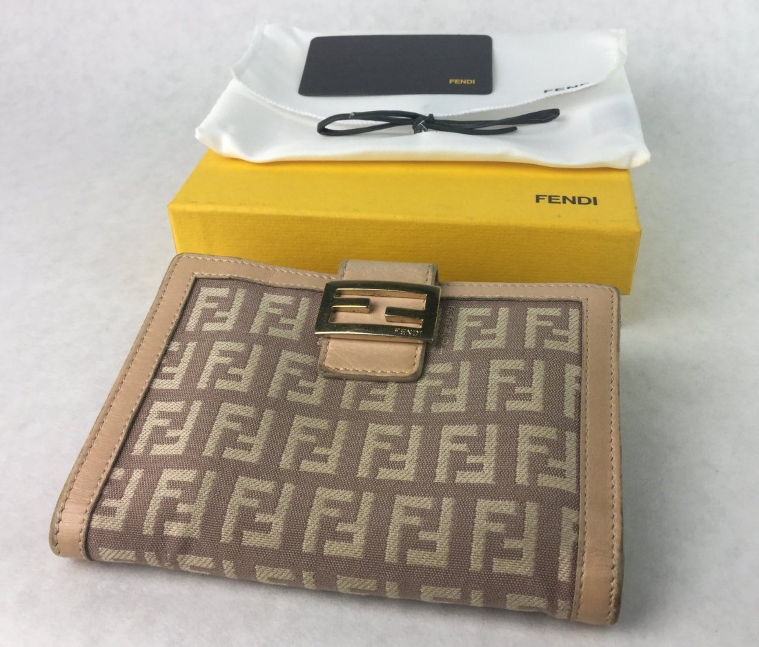 FENDI Zucca Canvas Leather Bifold Wallet ITALY