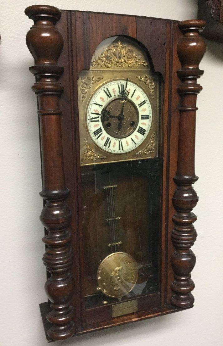 Late 1800 s Oak Art Nouveau wall clock