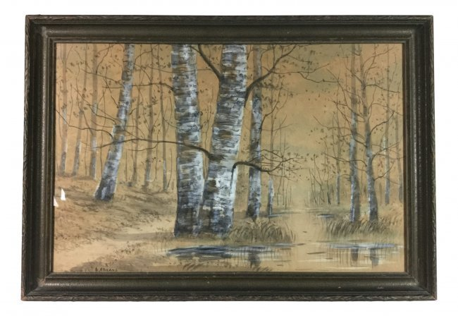 A. ABRAMS Watercolor of Forest Scene