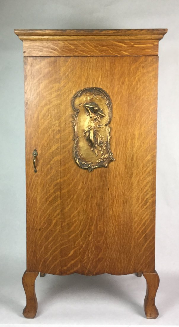 Tiger Oak Cabinet with Art Nouveau Plaque
