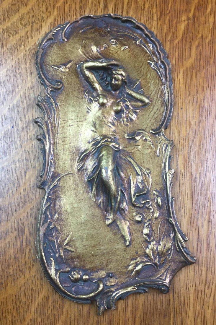 Tiger Oak Cabinet with Art Nouveau Plaque - 2