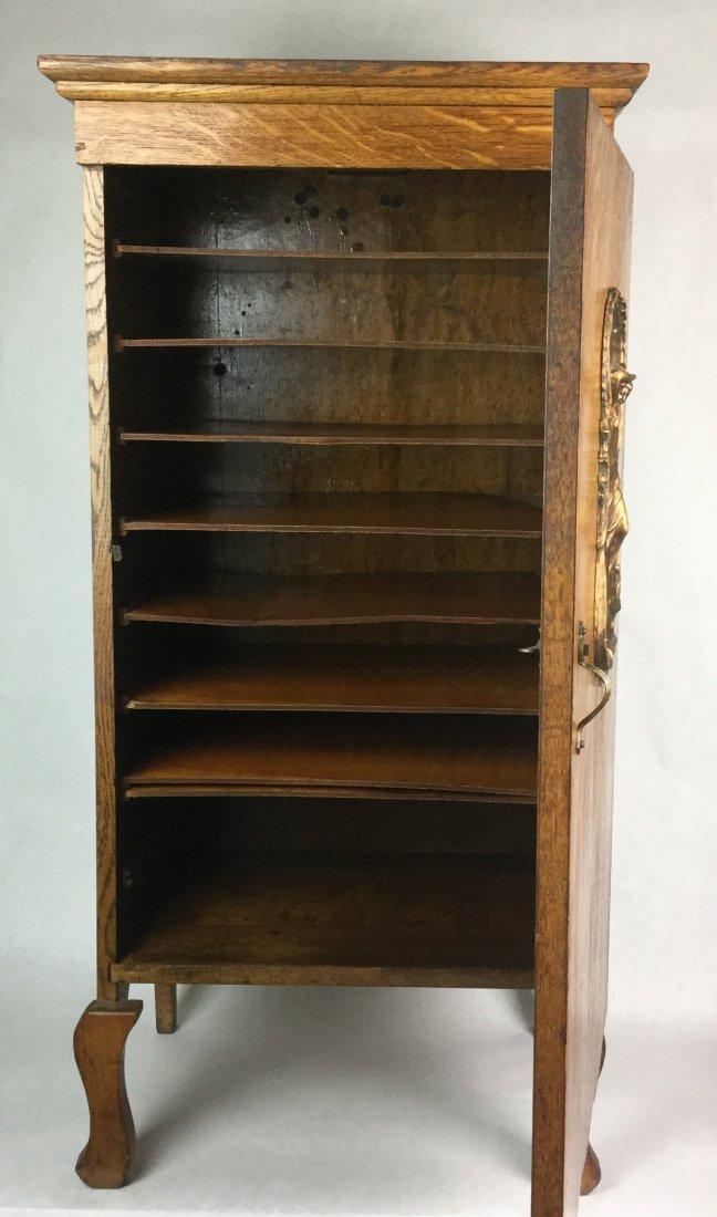 Tiger Oak Cabinet with Art Nouveau Plaque - 3
