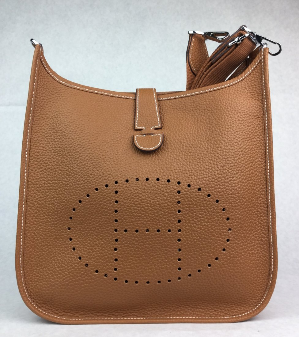 Hermès Evelyne III Messenger Tan Leather Purse