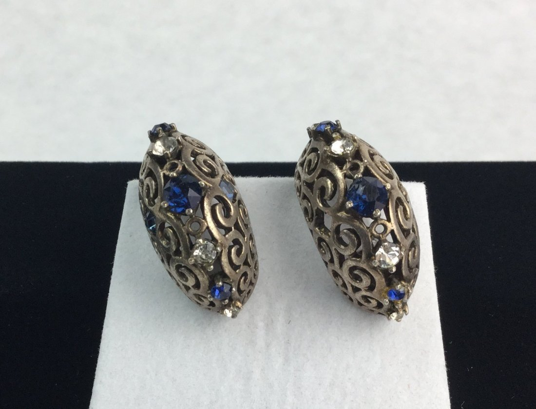 Vintage Sterling Silver & Rhinestone Earrings