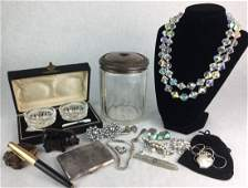 Vintage Estate Jewelry 925 Crystal Pearls Amethyst