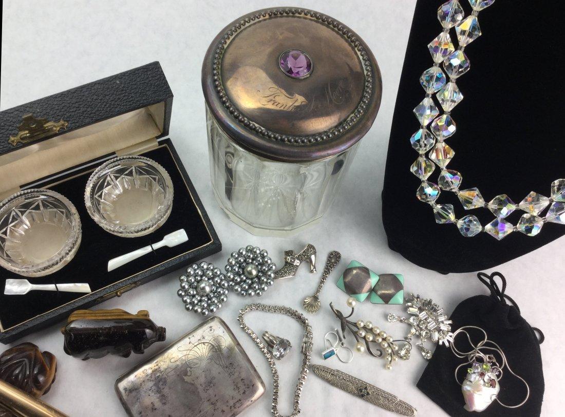 Vintage Estate Jewelry 925 Crystal Pearls Amethyst - 2
