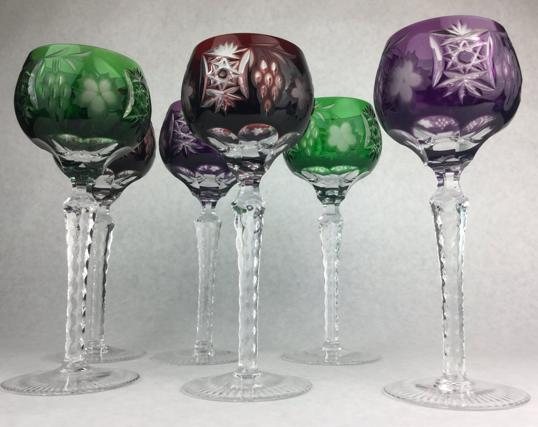 Bohemian Cut to Clear Glass Goblet Stems