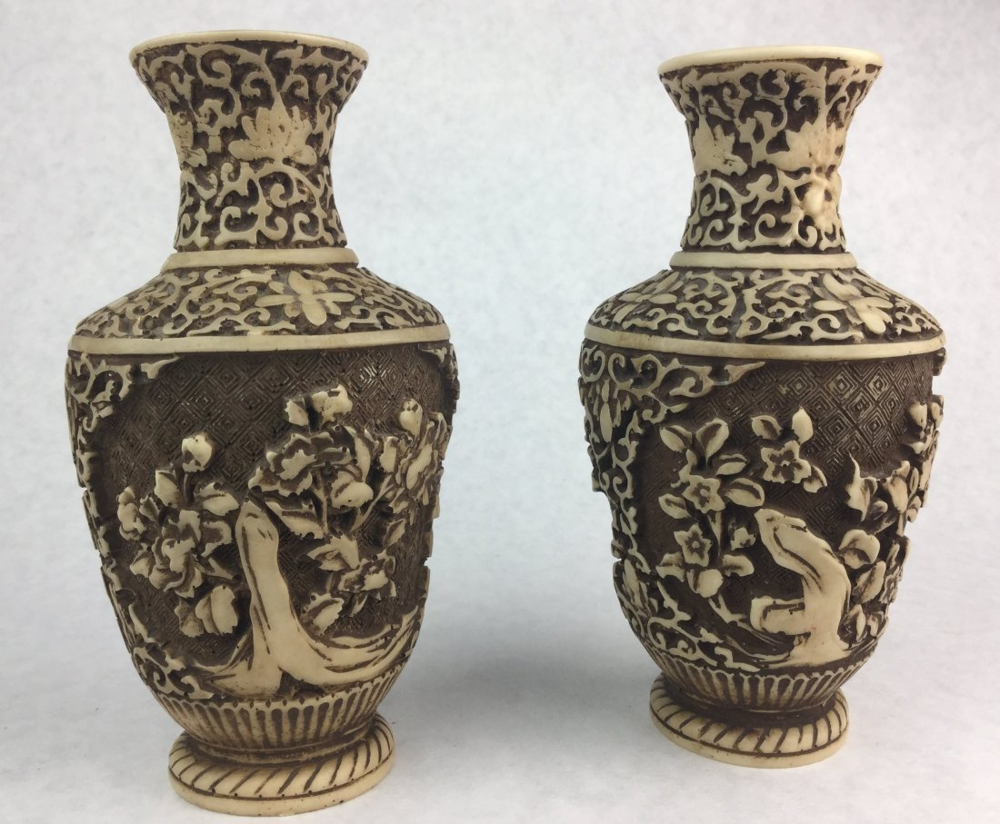 Hand Carved Asian Vases