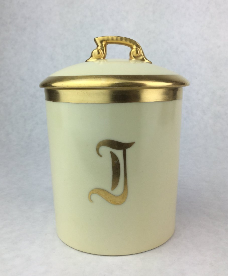 LIMOGES French Porcelain Apothecary Cotton Ball Jar