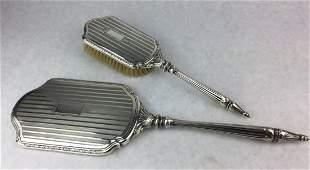 Art Nouveau Sterling Silver Vanity Mirror & Brush